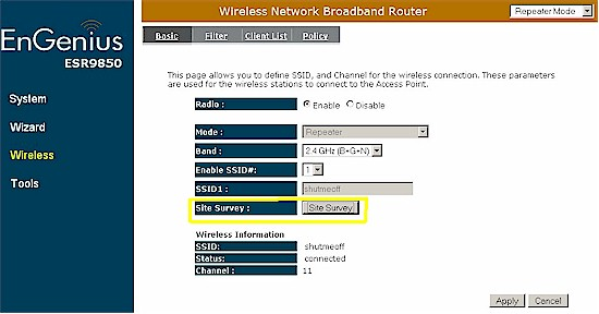 ESR9850 repeater mode wireless settings