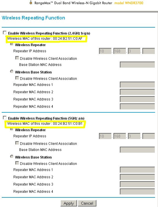 NETGEAR WNDR3700 clear MAC address indication
