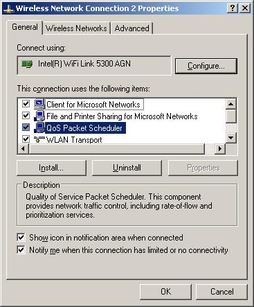 QoS Packet Scheduler enabled