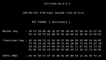 Aircrack-ng, Key Found!