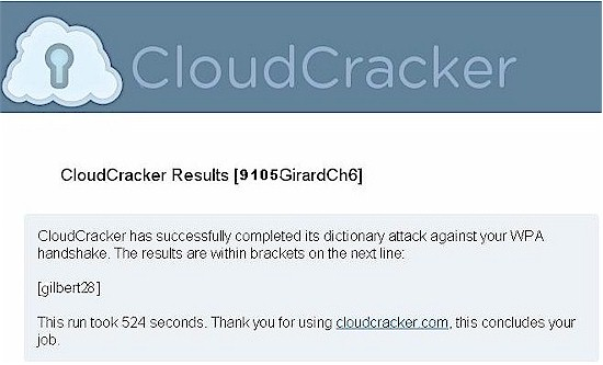 CloudCracker.com Returning My Password