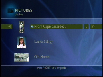 Figure 7: PCast Photo Selection Menu