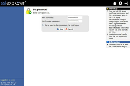 Figure 18: Account password screen