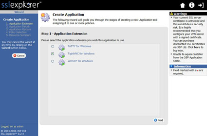Figure 32: Create Application screen