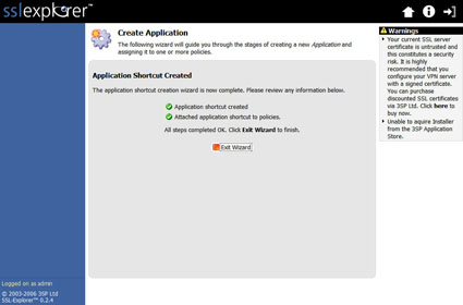 Figure 37: Applications Shortcut creation confirmation screen