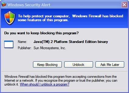 Figure 2: Windows firewall message