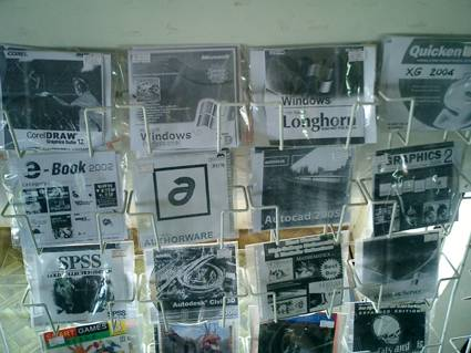 Figure 7: A rack of pirated software on a street corner.