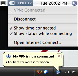 Figure 4: VPN connected notifications in Windows and Mac OS X