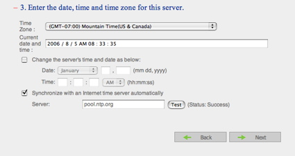 Figure 3: Time setup screen