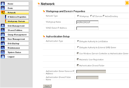 Network Workgroup / Domain screen