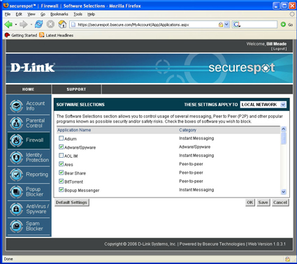 Firewall Software Selections screen