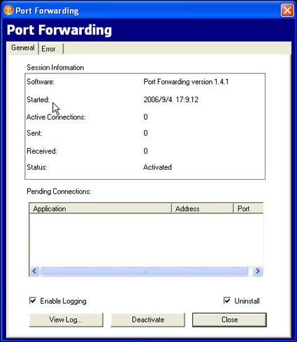 SSL312 - ActiveX Control - Port Forwarding (click image to enlarge)