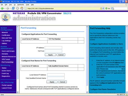 SSL312 - Administration - Port Forwarding (click image to enlarge)