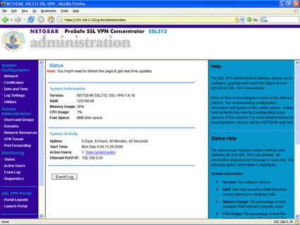 SSL312 - Administration - Status Screen (click image to enlarge)