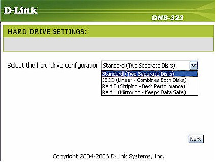 Drive Configuration screen