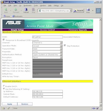 ASUS WL330g - Setup screen