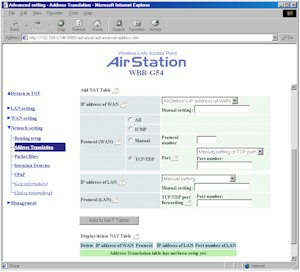 Buffalo WBR-G54: Address Translation screen