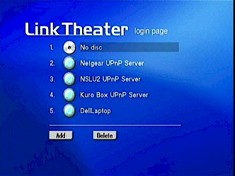 "LinkTheater ""Login"" page"