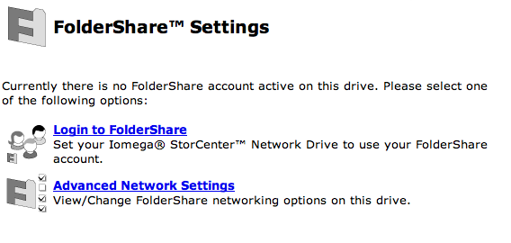 FolderShare Settings