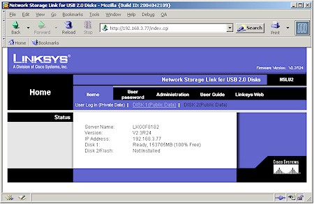 Linksys NSLU2: Home page