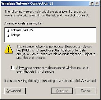 WinXP 'Available Wireless Networks' with WRT54G and WRE54G
