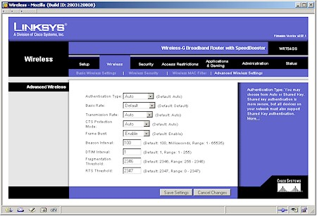 Linksys WRT54GS - Advanced Wireless Setup screen