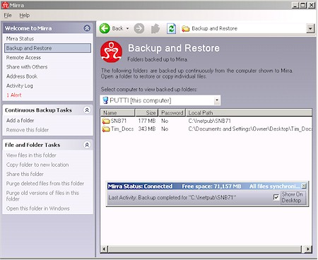 Mirra client application backup screen