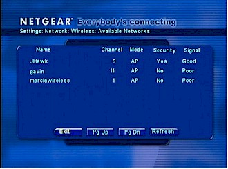 Wireless Network scan results