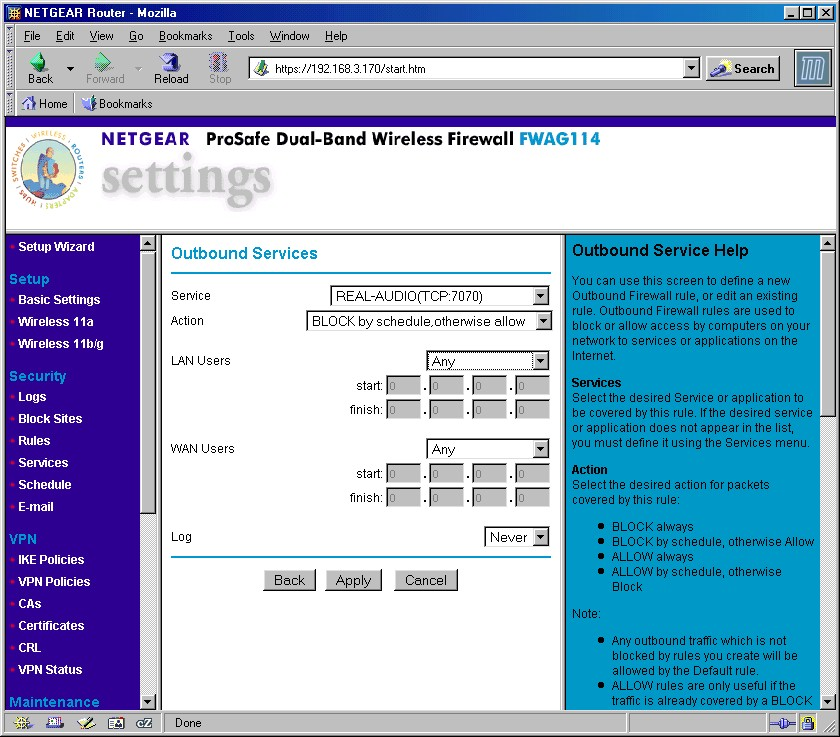 Netgear FWAG114 ProSafe Dual Band Wireless VPN Firewall
