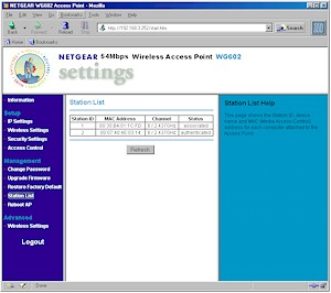 NETGEAR WG602- Station List screen