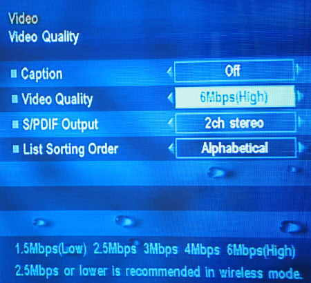 Setting video quality