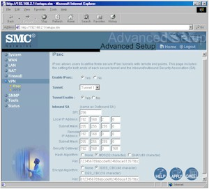 SMC7004FW: IPsec setup screen
