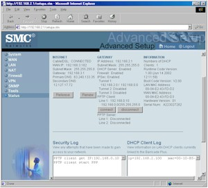 SMC7004FW: Status screen
