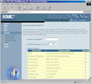 SMC7004VBR: Access Controls screen