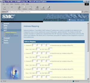 SMC7004VBR: Address Mapping screen