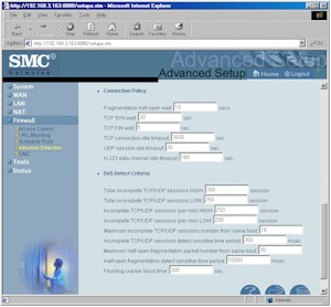 SMC7004VBR: More Intrusion Detection screen
