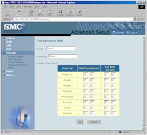 SMC7004VBR: Schedule Rule screen