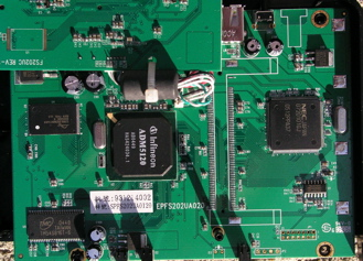 TS-U200 main board with daughterboard flipped up