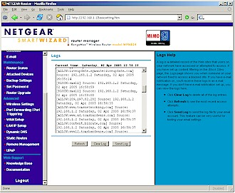 NETGEAR WPN824 - Logging screen