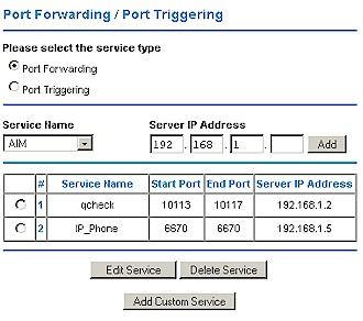 NETGEAR WPN824 Port forwarding screen