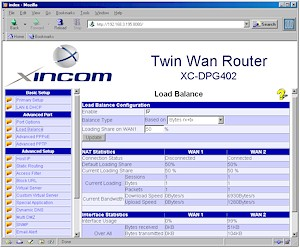 Xincom Dual-WAN: Load Balance Screen