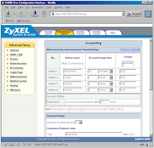 ZyXEL B-4000: Accounting page