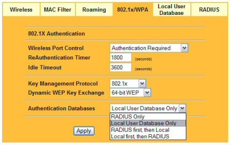 If you do not have a RADIUS server you can authenticate to an onboard Local User Database