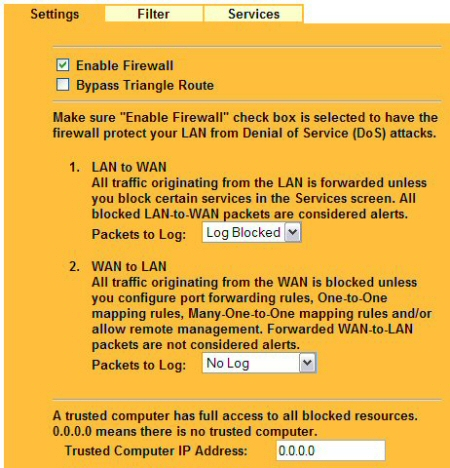 Enable Firewall, log traffic, and specify an IP that can bypass firewall blocks