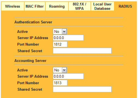 The RADIUS configuration tab - enter the IP of the RADIUS server and the shared secret key
