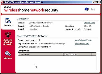 McAfee Wireless Network Security main window