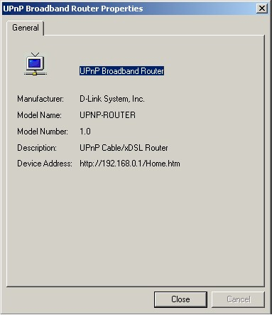 Figure 13: UPnP Router properties