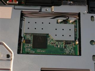 Close-up of installed card