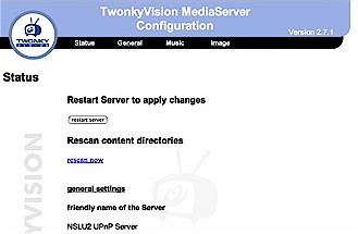 Configuring the Twonkvision server from a web browser