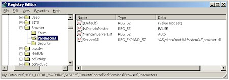 Browse service Registry key